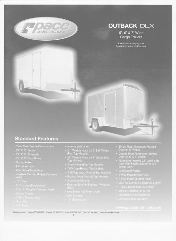 2022 Pace American Outback DLX 7X14 Enclosed Cargo Trailer