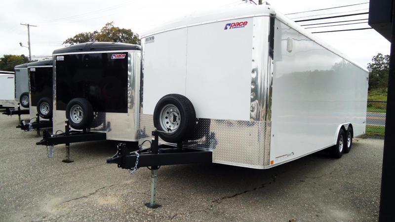 2022 Pace American 8.5X24 PLS TE3 RAMP WHITE Car / Racing Trailer