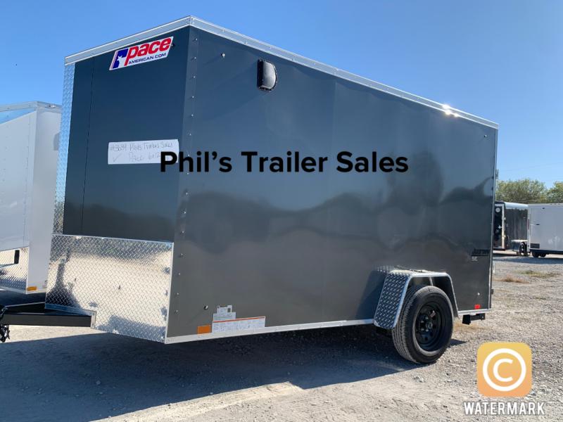 6X12 + 2 v nose  Pace 7' Charcoal  interior Cargo / Enclosed Trailer
