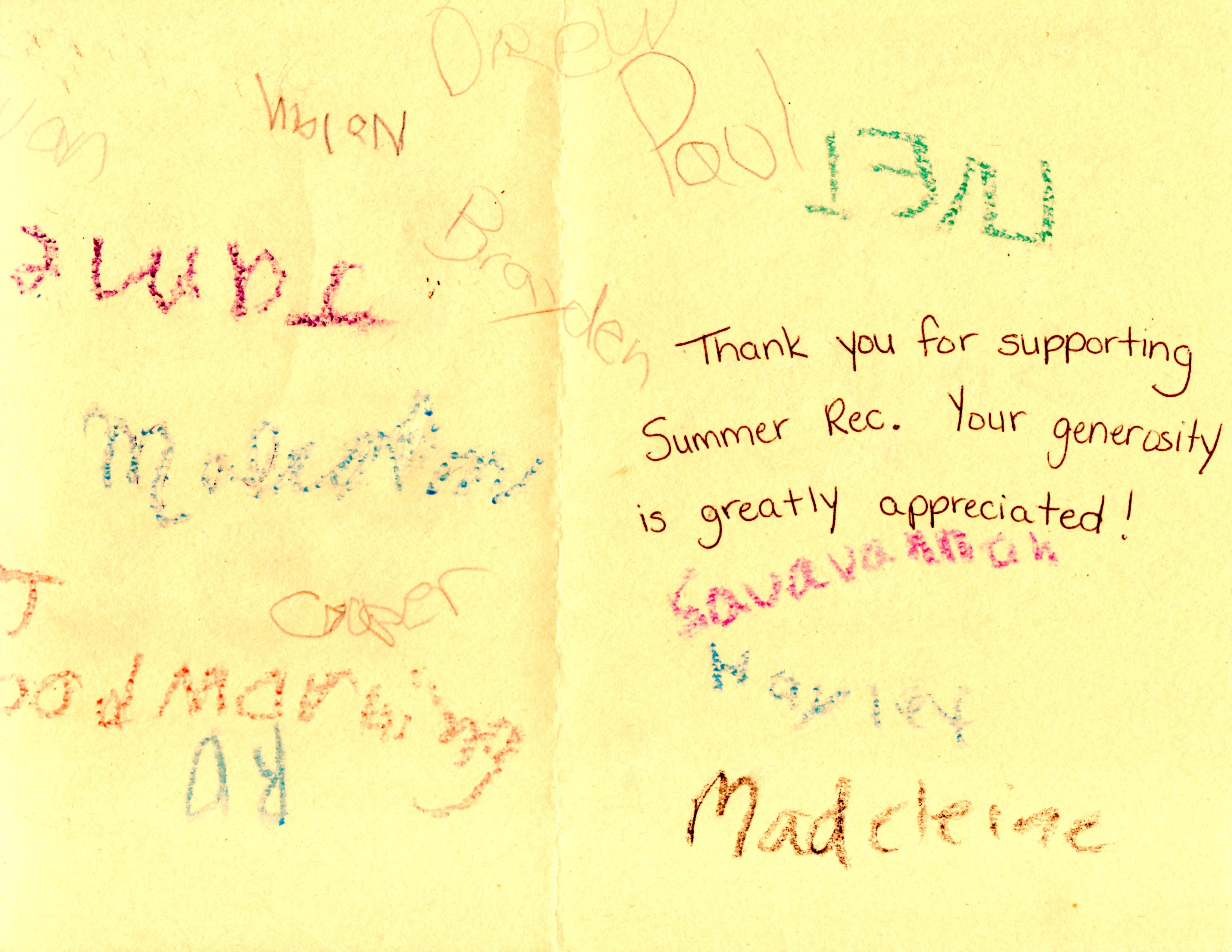 Front of a Thank card from MCAP