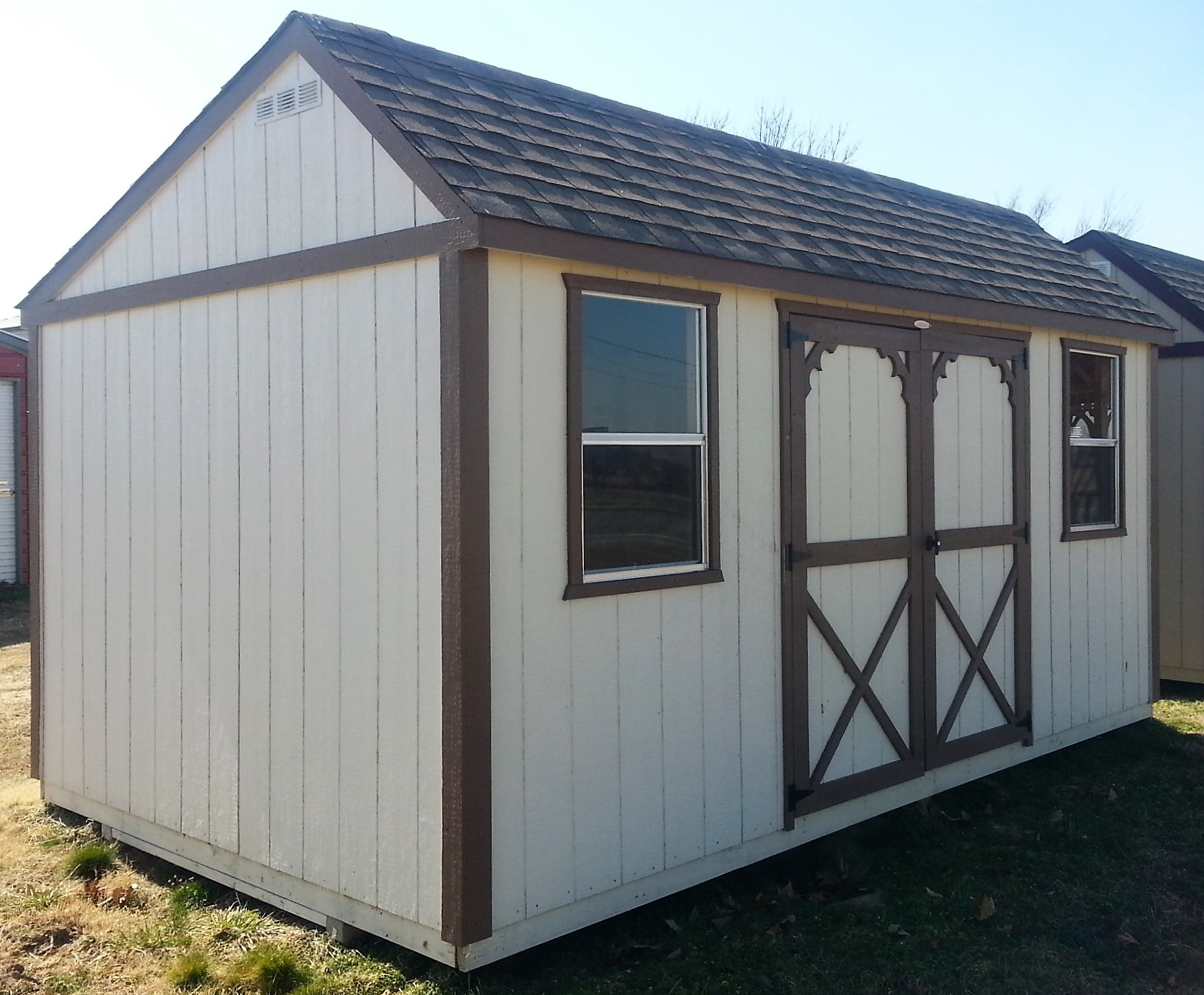 wooden portable buildings trailers portable storage buildings windows side entry 6 ft x 6 ft double barn style doors and off center saltbox style roof