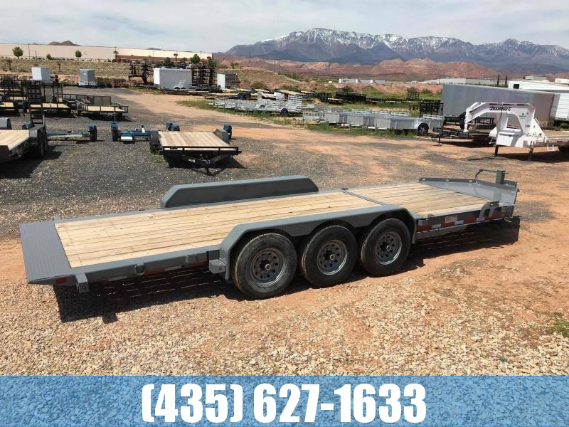 Diamond C 7x22 Tilt Trailer Low Profile Triple Axle 24k GVW w/ Storage Box