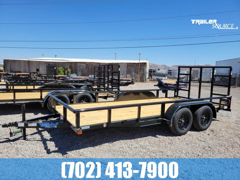 Top Hat 7x18 Utility Trailer with Rear Ramp Gate Pipetop Rails