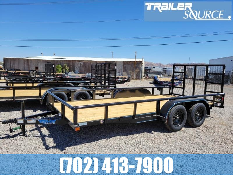 Top Hat 7x16 Utility Trailer with Rear Ramp Gate Pipetop Rails