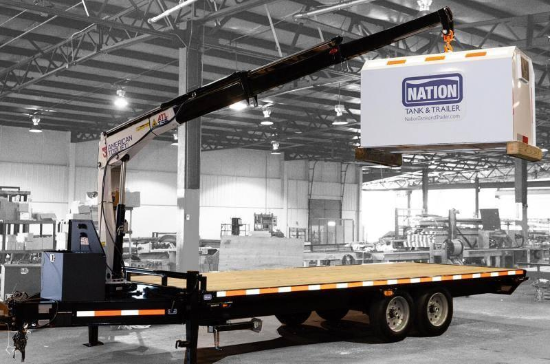 Axis Equipment FlatBed Trailer with American Crane Lift and stabilizing jacks