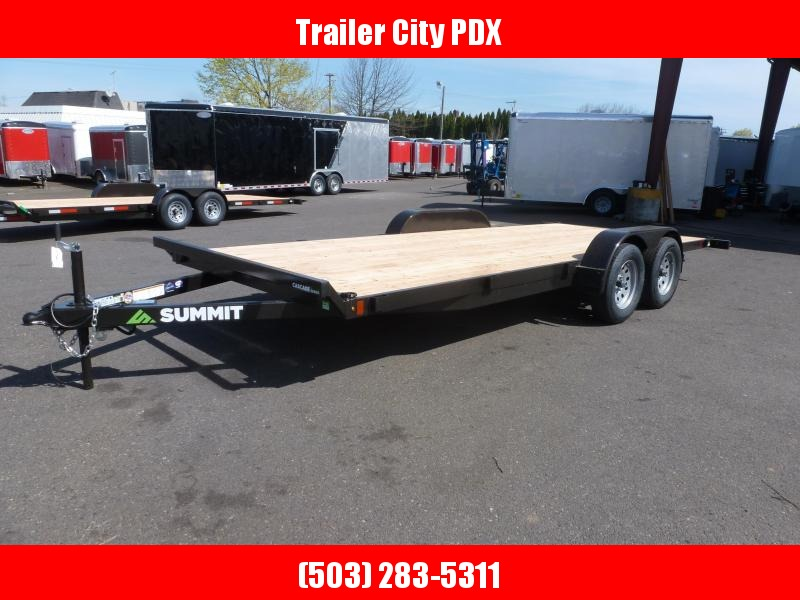 2020 Summit Cascade 7x18 7k Flatbed Trailer w/ Removable Fenders