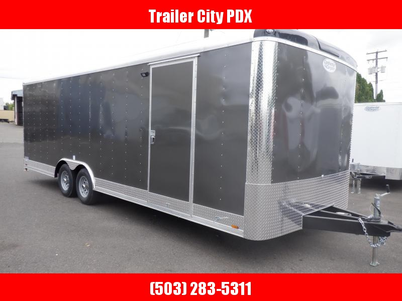 2020 Continental Cargo 8 x 24 10k Car Hauler Ramp Charcoal Gray Enclosed Cargo Trailer