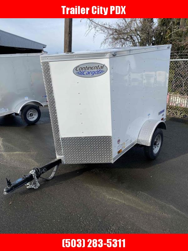 2021 Continental Cargo 4 X 6 WHITE V-SERIES ENCLOSED TRAILER Enclosed Cargo Trailer
