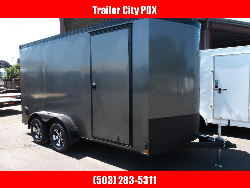 2021 Wells Cargo 7X14 7K ROAD FORCE V-NOSE PHANTOM CHARCOAL GRAY Enclosed Cargo Trailer