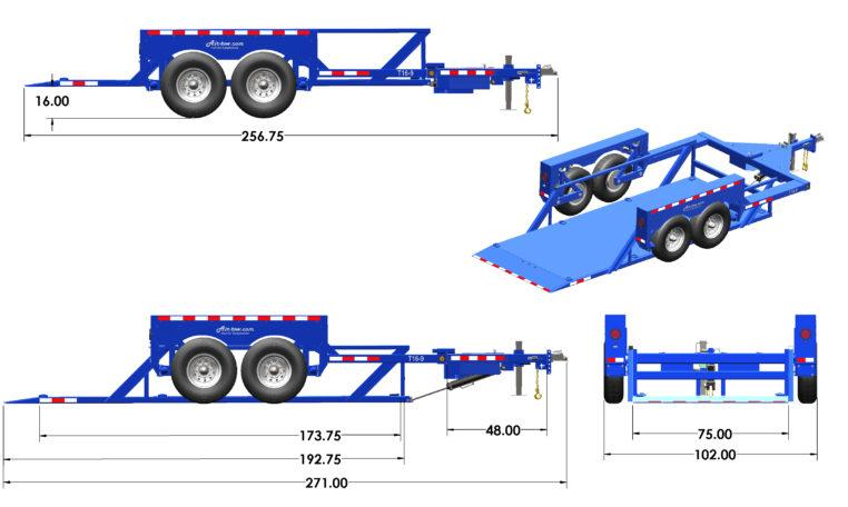 GROUND LOADING Air Tow T16-10 Tandem Axle Flatbed Flatbed Trailer