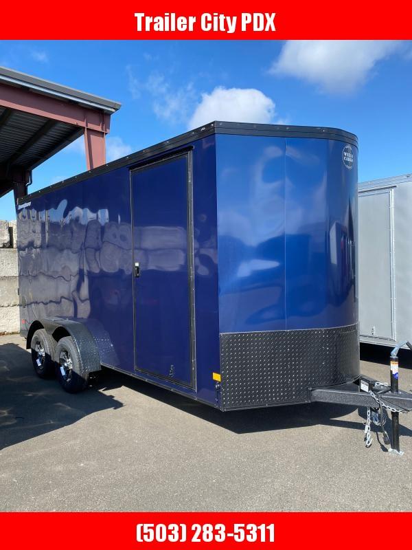 2021 Wells Cargo 7X16 7K ROAD FORCE V-NOSE RAMP. INDIGO BLUE Enclosed Cargo Trailer