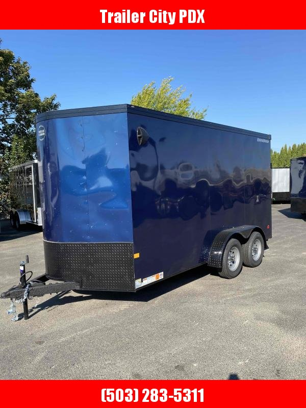 Wells Cargo 7 X 14 7K RAMP INDIGO BLUE Enclosed Cargo Trailer