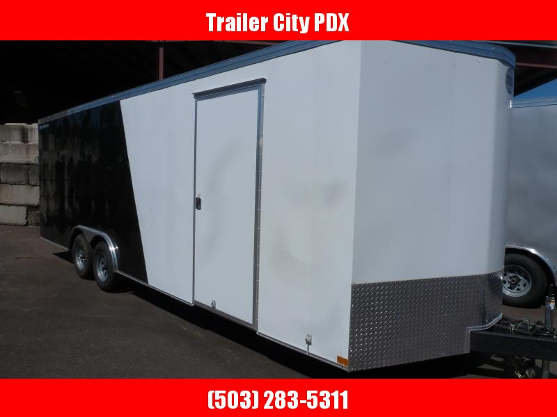 2020 Wells Cargo 8.5X24 10K RFV ESCAPE DOOR V-NOSE. BLACK. WHITE Enclosed Cargo Trailer