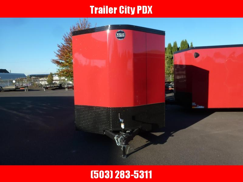 2021 Wells Cargo 7 X 14 7K RAMP VICTORY RED PHANTOM ROAD FORCE ENC Enclosed Cargo Trailer