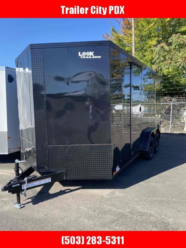 7.5 X 16 BLACK RAMP Enclosed Cargo Trailer