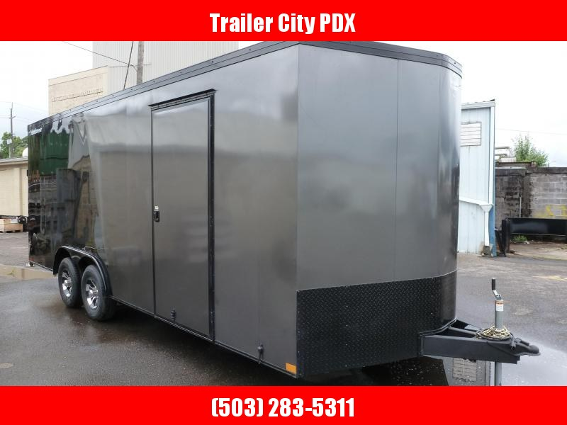 2020 Wells Cargo 8.5 X 20 10K RAMP V-NOSE CHARCOAL/BLACKROAD FORCE Enclosed Cargo Trailer