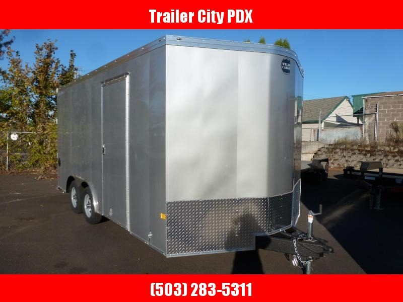 2021 Wells Cargo 8.5 x 16 RAMP ROAD FORCE ENCLOSED SILVER FROST Enclosed Cargo Trailer