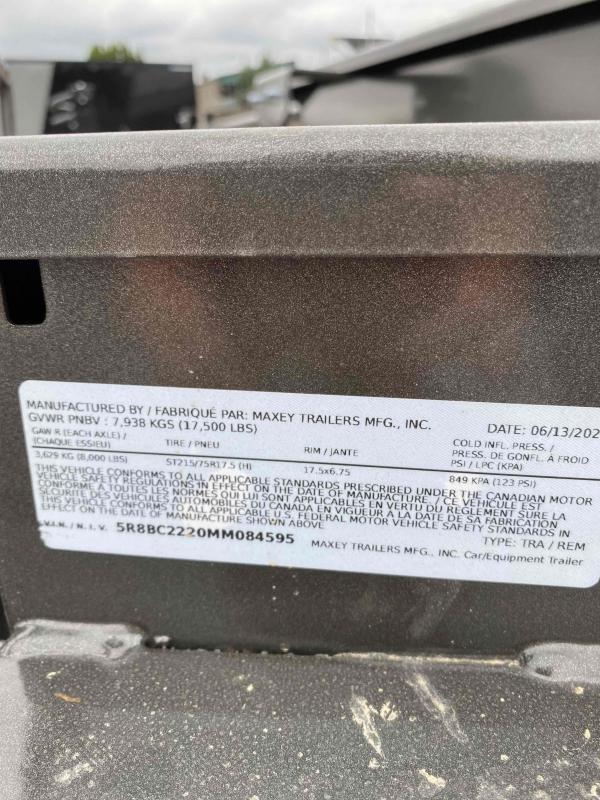 MAXXD 8.5 X 22 17.5K  Power Equipment Tilt Trailer