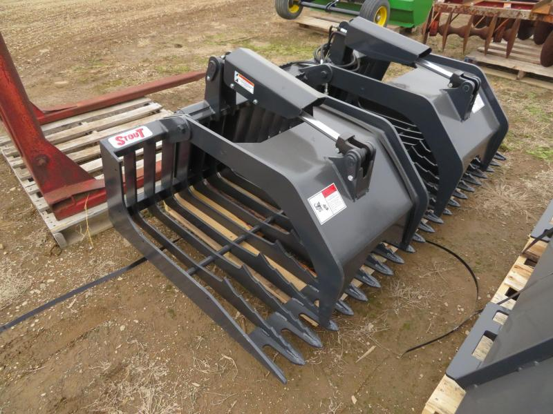 """New Stout 72"""" Rock bucket with Grapple for Skid Steer Loader"""