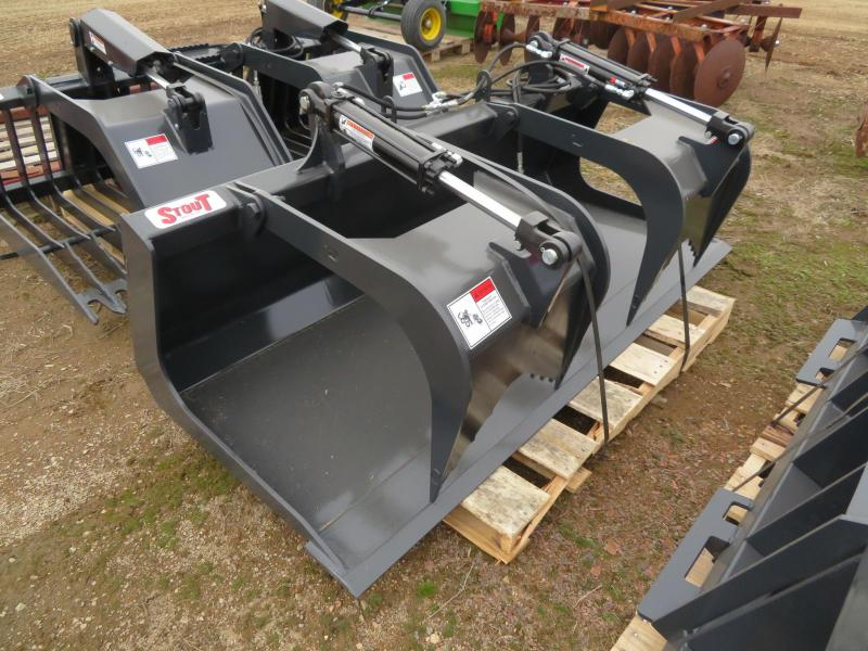 """New Stout 72"""" Skid Steer Bucket with Grapple"""