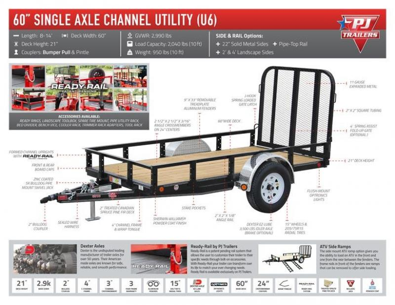 "2021 PJ Trailers 60"" x 10' Single Axle Channel Utility (U6)"