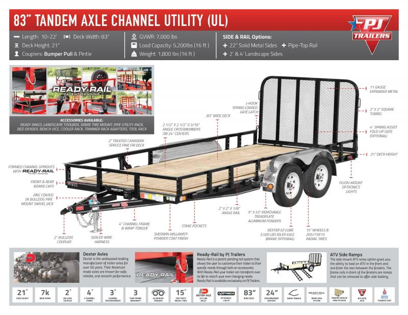"2021 PJ Trailers 83"" x 16' Tandem Axle Channel Utility (UL)"