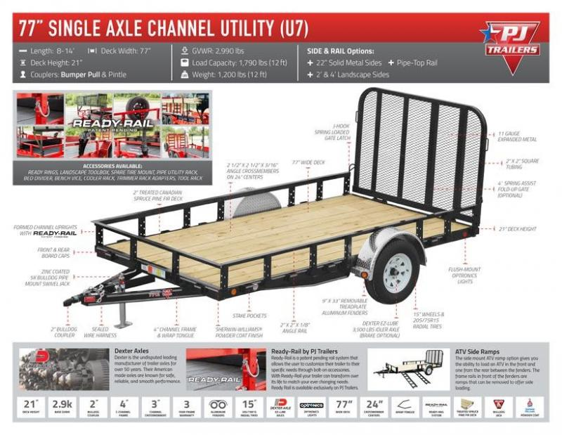 "2021 PJ Trailers 77"" x 14' Single Axle Channel Utility (U7)"
