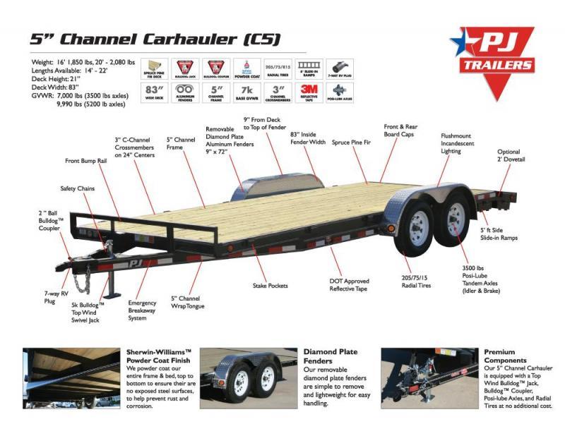 "2021 PJ Trailers 83"" x 18' 5"" Channel Carhauler (C5) Car / Racing Trailer"