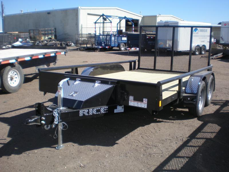 2021 Rice 82x12 Tandem Utility w/Pipe Top Rail
