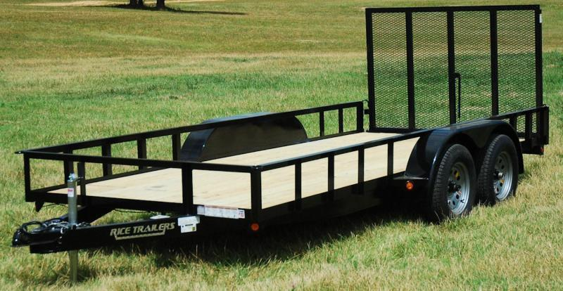 2020 Rice 76x14 Tandem Utility w/Gas Spring Assist Ramp Gate