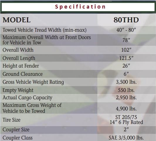 2021 Master Tow Model 80THDEB Tow Dolly
