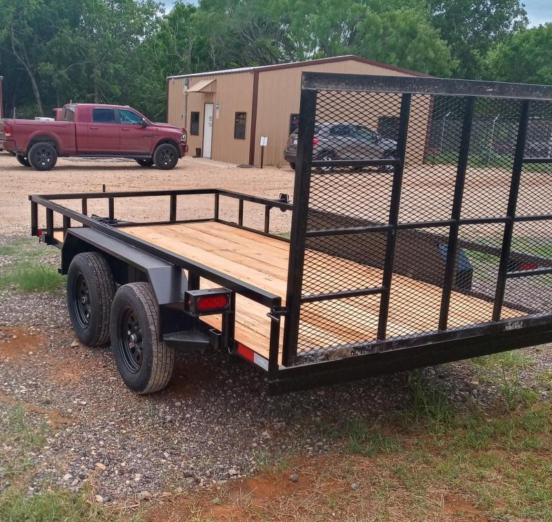 83 X 14 Tandem Axle Gated Utility Trailer With Electric Brakes
