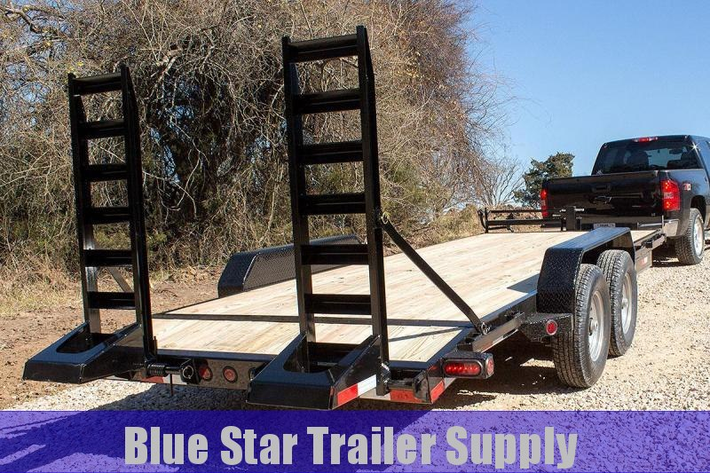 83X20 Bumper Pull Lowboy Equipment Trailer w/ Stand-Up Ramps