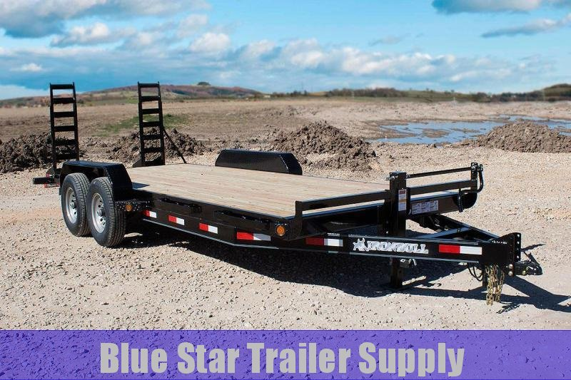 83 x 20 Bumper Pull Lowboy Equipment Trailer w/ Stand-up Ramps
