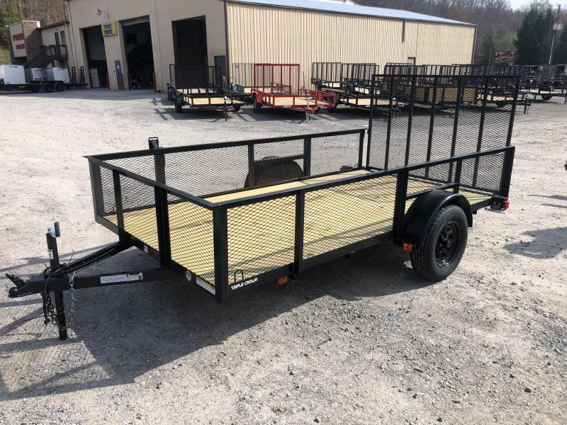 2021 Triple Crown 76x12 single axle w/gate 2' mesh sides Utility Trailer