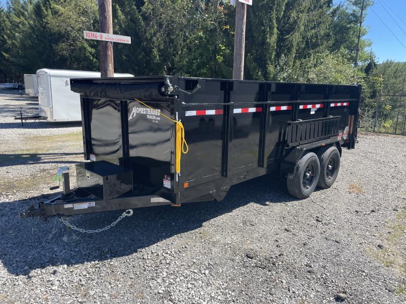 2021 Homesteader 7X16JX 7TON 44in sides SCISSOR LO-PRO W/TARP AND RAMPS Dump Trailer