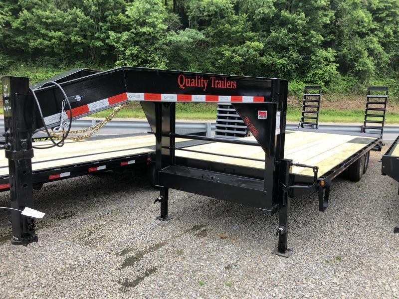 2021 Quality Trailers 24ft 20plus4 PRO 17K POP UP DOVETAIL Gooseneck Deckover Equipment Trailer