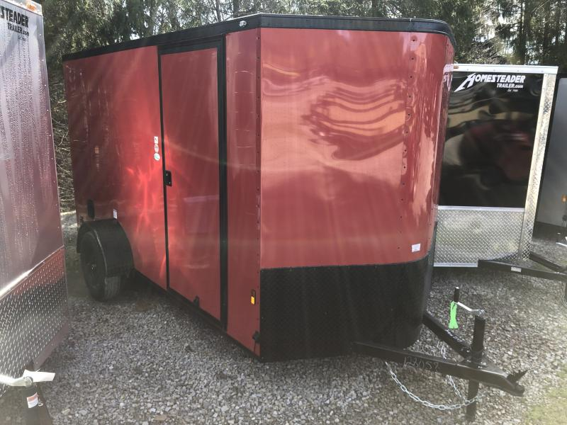 2021 Continental Cargo 6x12 V-Nose Black Out Side Door Ramp Door Enclosed Cargo Trailer