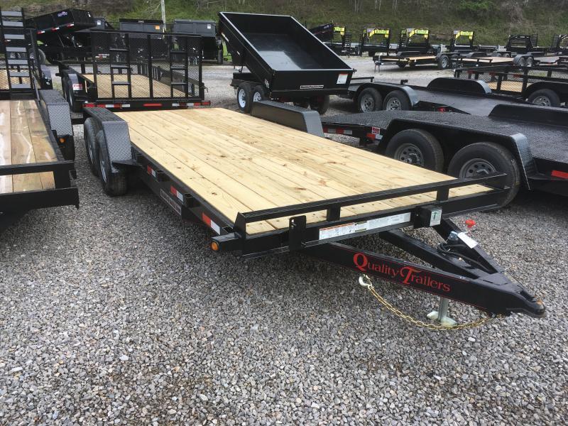 2021 Quality Trailers 82x20 5ton bumper pull wood car hauler Trailer w/left removable fender