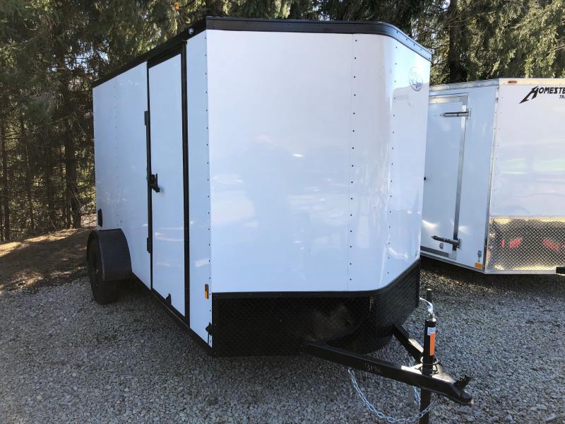 2022 Continental Cargo 6x12 V-Nose Black Out Side Door Ramp Door Enclosed Cargo Trailer