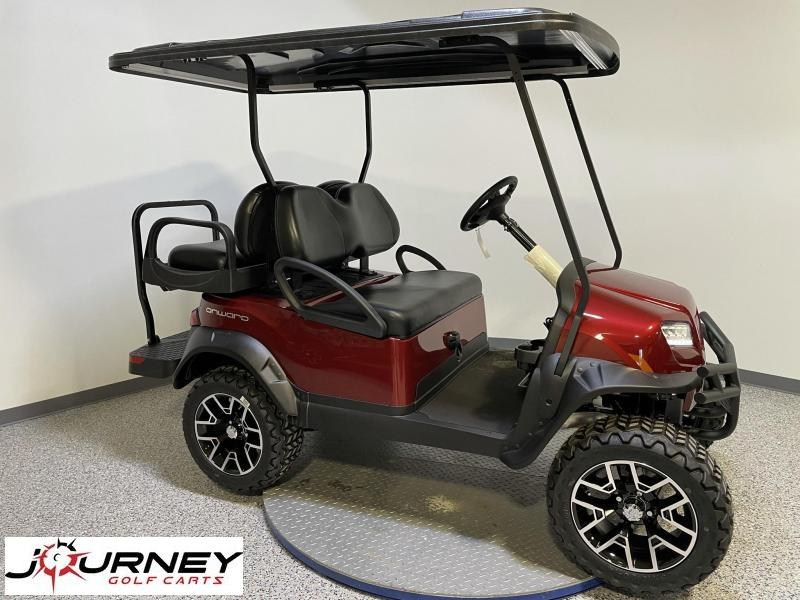 2021 Club Car Onward 4 Passenger Lifted Metallic Candy Apple Red 48 Volt Electric Golf Cart
