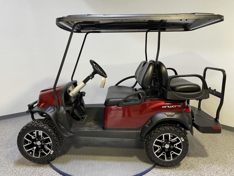 2021 Club Car Onward 4 Passenger Lifted Metallic Candy Apple Red 48 Volt Electric Golf Cart