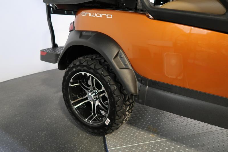 2021 Club Car Onward 4 Passenger Lifted Atomic Orange Metallic LED Lights