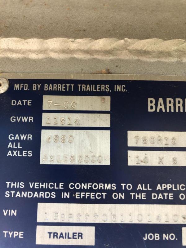 2001 Barrett Trailers 3 Horse slant load Livestock Trailer
