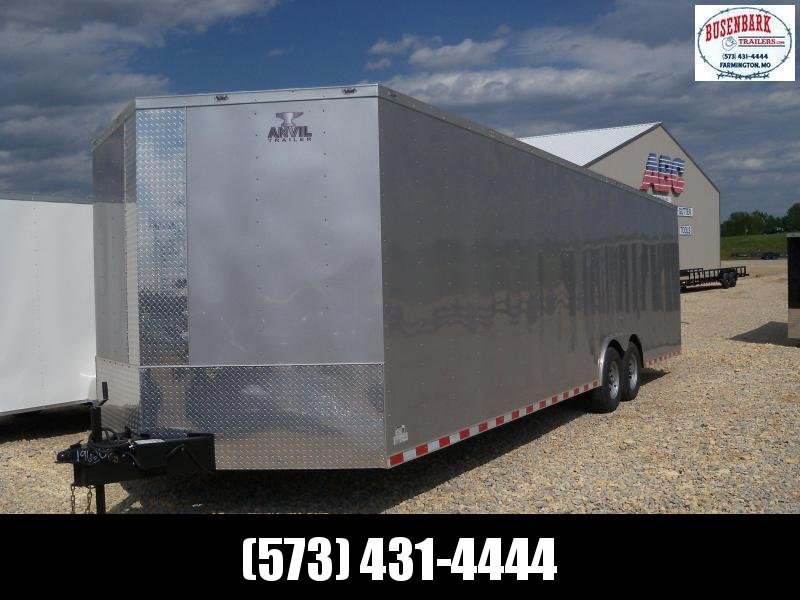 28X102 Anvil Silver Enclosed Cargo Trailer 5200 lb Tongue Jack AT85X28TA3