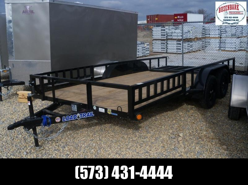 16X083 Load Trail Black Utility Trailer 4' Gate Treated Wood UE8316032