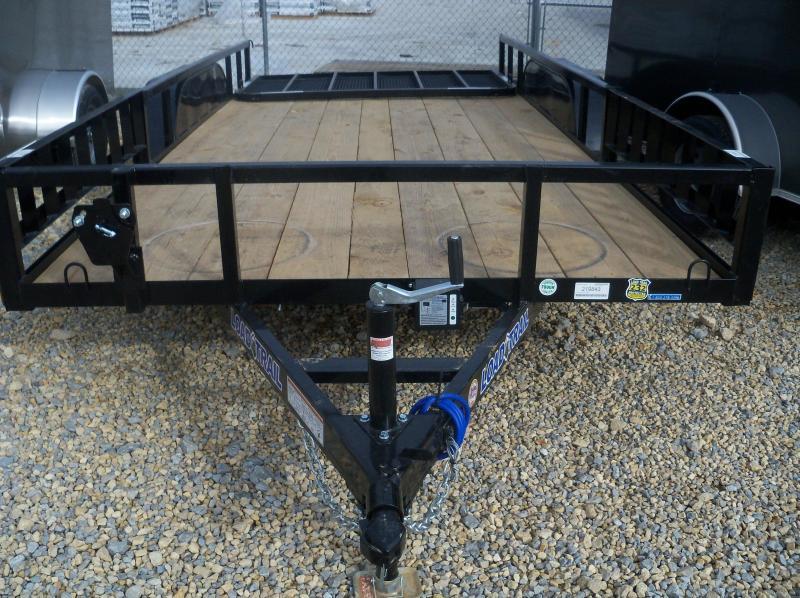 16X083 Load Trail Black Utility Trailer 4' Gate Treated Wood UE8316032