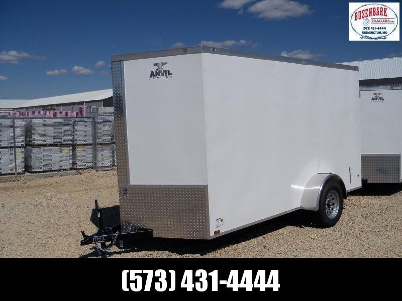 12X072 Anvil White Enclosed Cargo Trailer Dbl Rear Doors AT6X12SA