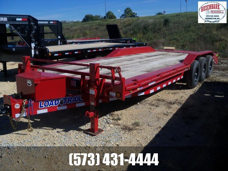 24X102 Load Trail Red Triple Axle Carhauler Max Ramps Pintle Ring Tool Box CH0224073