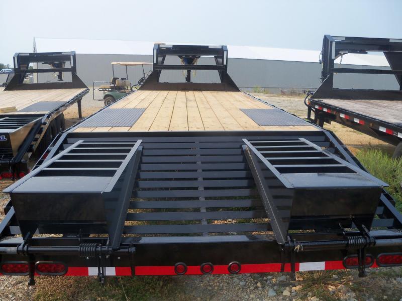 25X102 Load Trail Black Standard Gooseneck Trailer Dovetail Flip Over Ramps GS0225072